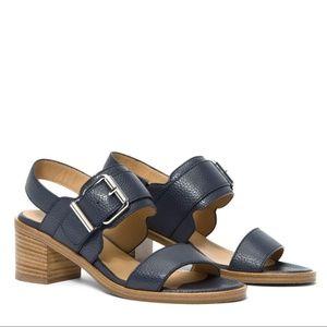 AQUATALIA Olympia Pebbled Leather Sandals Navy